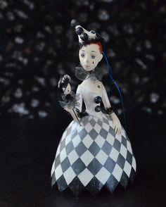 Pierrette with marotte - OOAK miniature doll - Tiny hanging doll - Miniature Art…