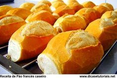 Pão Francês - french bread rolls from Brazil. such a staple, everyone has them for breakfast down there Breakfast Recipes, Snack Recipes, Cooking Recipes, Cooking Ideas, Fresh Bread, Sweet Bread, Brazillian Food, Pain Pizza, Good Food