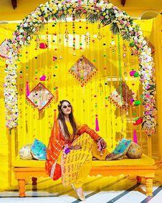 20 Real Brides Who Wore Yellow Outfits At Their Mehendi Ceremony Desi Wedding Decor, Diy Wedding Backdrop, Wedding Mandap, Wedding Stage Decorations, Backdrop Decorations, Wedding Ceremony, Wedding Entrance, Flower Backdrop, Wedding Receptions