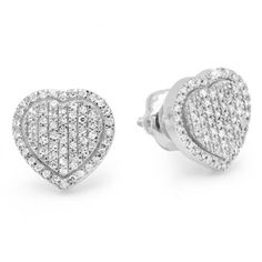 Sparkling and elegant treat her to these heartfelt designs. Crafted in 14K white gold each heart-shaped stud earring is centered with a glittering array of shimmering round diamonds. Simple straightforward and so stylish a lovely look any time these earrings captivates with 0.17 ct. of diamonds and a bright polished shine. These heart earrings secure comfortably with screw backs.