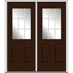 Milliken Millwork 66 in. x 81.75 in. Classic Clear Glass GBG 1/2-Lite 2 Panel Painted Fiberglass Smooth Exterior Double Door, Polished Mahogany