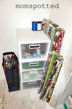 Gift Wrap Storage Station Organized I needed this. Mine is all shoved into a closet