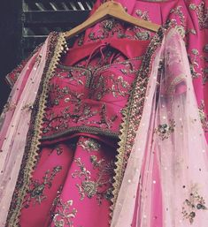 Pink bridal lehenga set with soft net embroidered dupatta by Rianta Pink Bridal Lehenga, Indian Bridal Lehenga, Red Lehenga, Lehenga Choli, Anarkali, Wedding Lehanga, Sarees, Lehnga Dress, Frock Dress