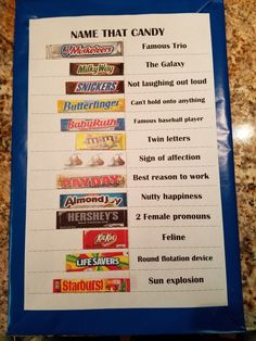 Name that Candy game.print,cut, attach with velcro dots. Way easier to pack/setup. Winning team gets the real candies! Have Fun😉 Family Fun Games, Kids Party Games, Family Game Night, Games To Play, Birthday Fun, Birthday Crafts, Grandpa Birthday, Birthday Quotes, Candy Board