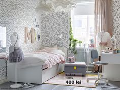 IKEA - SLÄKT, Bed frame w/pull-out bed + storage, , The pull-out bed is perfect to roll out when a friend sleeps over and there's room for both bed linens and toys in the 2 drawers. Diy Room Decor Tumblr, Decor Room, Living Room Decor, Wall Decor, Wall Art, Bedroom Crafts, Home Decor Bedroom, Bedroom Ideas, Bedroom Designs