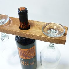 wine glass and bottle caddy made from old salvaged reclaimed wood