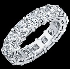 Asscher Eternity Diamond Ring 9.8 ct Platinum