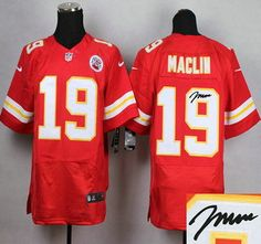 Nike Kansas City Chiefs Jersey 19 Jeremy Maclin Red Elite Signed Jerseys