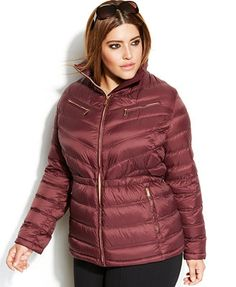 MICHAEL Michael Kors Plus Size Packable Quilted Cinchable Down Puffer Coat
