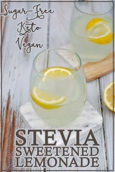A simple refreshing beverage this stevia-sweetened lemonade is perfect for summertime! Simply squeeze the juice of one lemon into a cup add water and stevia and chill. Stevia Recipes, Low Carb Recipes, Healthy Recipes, Juice Recipes, Ketogenic Recipes, Drink Recipes, Healthy Meals, Free Recipes, Dinner Recipes