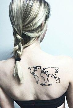 Matthew 28:19 & world map tatto Instagram @ britt_bogantz