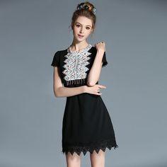 Summer Women Plus Size Short Sleeve Lace Trim Colorful Beads Embellished Crochet Bib Black Sheath Dress l-5xl