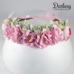Pink Flower Crown / Headband For Baby Girls Flower Band, Flower Crown Headband, Baby Girl Headbands, Cool Costumes, Your Girl, Little Princess, Pink Flowers, Baby Girls, Girl Outfits