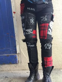 *My Own Work* punk pants in progress//not completed #punk #inspo #punkinspo #crust #crustpunk