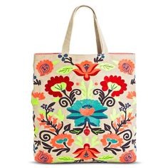 Women's Embroidered Neon Floral Pattern Tote Handbag - Tan