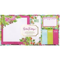 Lilly Pulitzer Sticky Note Set, Pink Lemonade ($10) ❤ liked on Polyvore featuring home, home decor and stationery