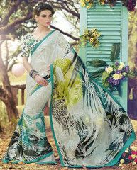 Off White & Ocean Blue Color Georgette Casual Wear Sarees : Nivedita Collection YF-27232