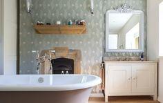 Farmhouse Bathroom by Gabriel Holland Interior Design... Vanity recessed into wall.