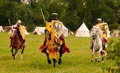 Deze ridder draagt een zwarte adelaar op een veld van geel; het wapen van het Heilige Rijk.