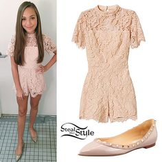Maddie Ziegler: Lace Romper, Studded Flats