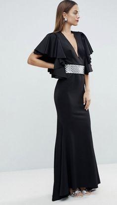 ASOS EDITION deep plunge scuba ruffle sleeve maxi dress with detachable belt Maxi Dress With Sleeves, Ruffle Sleeve, Asos, Deep, Outfits, Shopping, Dresses, Vestidos, Dress