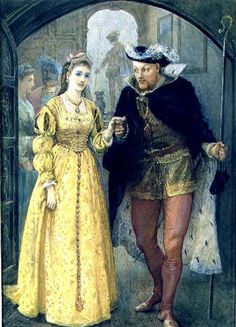 Tudor inspired art: Henry VIII and Anne Boleyn by Arthur Hopkins c. Depicts the day of the funeral of Henry VIII´s first wife, Catalina of Aragon. Sources of the time say both wore yellow, which in Tudor´s time was the color of celebration. Tudor History, European History, British History, Asian History, Uk History, Costume Renaissance, Mode Renaissance, Wives Of Henry Viii, King Henry Viii