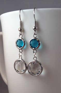 Aqua blue and Clear glass dangle earrings by IvyLouJewelry on Etsy, $10.00