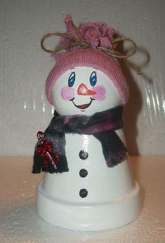Small clay pot snowman