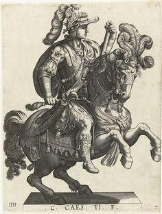 Laurens Eillarts   Ruiterportret van een Romeins keizer, Laurens Eillarts, Antonio Tempesta, 1616 - 1620   Een Romeins keizer te paard, en profil afgebeeld met één hand aan de teugel en in de andere zijn commandostaf.