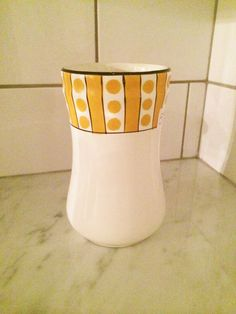 White Yellow Polka Dot Vase Porcelain Vase Belgium Art by Comforte