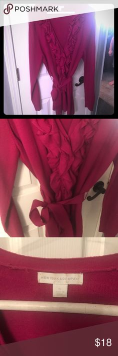 Long raspberry colored ruffle neck sweater XL Long belted sweater raspberry pink with ruffle collar from New York and Co.  size xl New York & Company Sweaters Cardigans