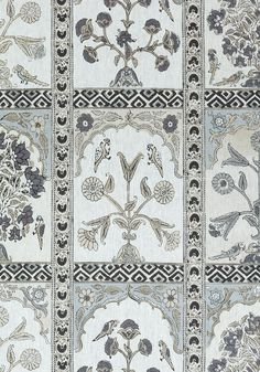 INDIAN PANEL, Black and White, F910630, Collection Ceylon from Thibaut Grey Pillow Covers, Grey Pillows, More Wallpaper, Coral Blue, Graphic Patterns, Fabric Samples, Fine Furniture, Printing On Fabric, Black And White