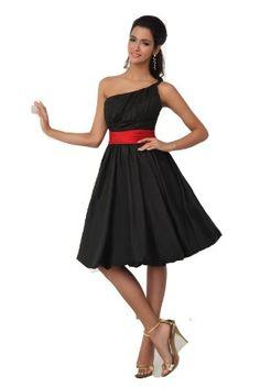 Amazon.com: Winey Bridal Black and Red Sash Short Knee Length Cheap Bridesmaid Dresses: Clothing