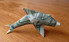 Dollar Origami Dolphin by craigfoldsfives on DeviantArt Folding Money, Origami Folding, Useful Origami, Origami Paper, Origami Ball, Napkin Folding, Origami Love Heart, Origami Star Box, Origami Stars