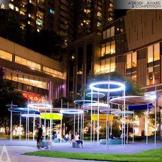 A 'Design Award & Competition - Los ganadores - Architecture Portfolio Plaza Design, Mall Design, Landscape Lighting Design, Landscape Architecture Design, Urban Furniture, Street Furniture, Design D'espace Public, Shade Structure, Parking Design