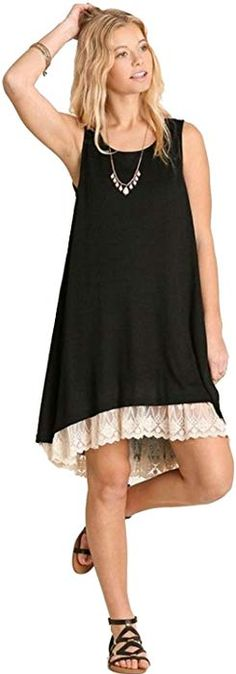 a2805f7d2a97 Sheer Knit Tank Dress Lined With Lace Trim (2XL