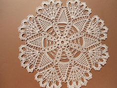 Handmade crochet doily color - ecru 100 % - cotton size - 12 inches ( 30 cm . ) in diameter