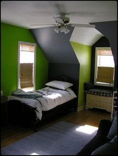 bedroomsmall attic tween boys bedroom design inspirations with green and grey wall paint featuring tiny window seating and single bed combine with ceiling