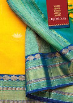 Lotus against yellow and bold Rudraksha in the border. It will surely get your prayers answered. Kanchipuram Saree, Handloom Saree, Soft Silk Sarees, Cotton Saree, Saree Wedding, Dress Wedding, Saree Jewellery, India Fashion, Women's Fashion