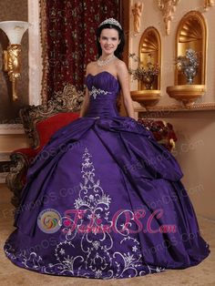 Elegant Purple Quinceanera Dress Sweetheart Taffeta Embroidery Ball Gown  http://www.fashionos.com