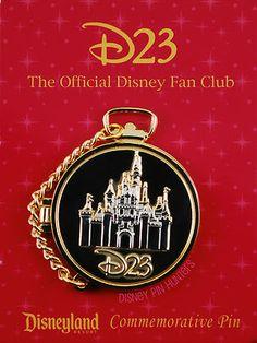 Disney D23 Pocket Watch Gold Sleeping Beauty's Castle w/ Mickey Mouse Pin