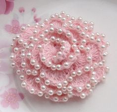 Crochet Flower With Pearls in 3 inches YH01003 ♥ by YHcrochet, $6.99