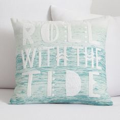 A beachy headline pops against the oceanic image on this organic canvas pillow cover. Exclusively designed with 11-time world surfing champ Kelly Slater, it brings authentic surfer style to your room