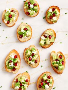 avocado & pomegranate crostini