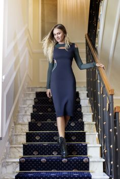 Nina Suess does day to night in this sensual fitted Versace dress. #7D7D Find your dress here: http://goo.gl/u2kjjI