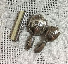Dollhouse Miniature Obadiah Fisher Sterling Silver Dresser Set Artisan Creation - This set mirror, brush, & comb. 1/12 Z