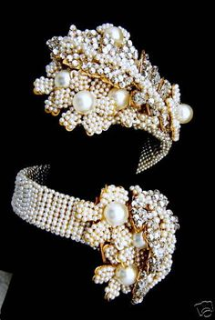 Miriam Haskell rose montee and faux pearl wrap bracelet #vintage #20th_century #costume_jewelry