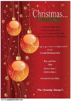 Free Christmas Invitation Templates Red Decoration With Fir And Balls Winter Holiday Invitation .