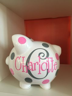 368 best all things charlotte images on pinterest charlotte piggy bank personalized piggy bank large piggy bank piggy bank for girls negle Gallery