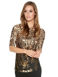 M&Co. Women Animal print metallic top
